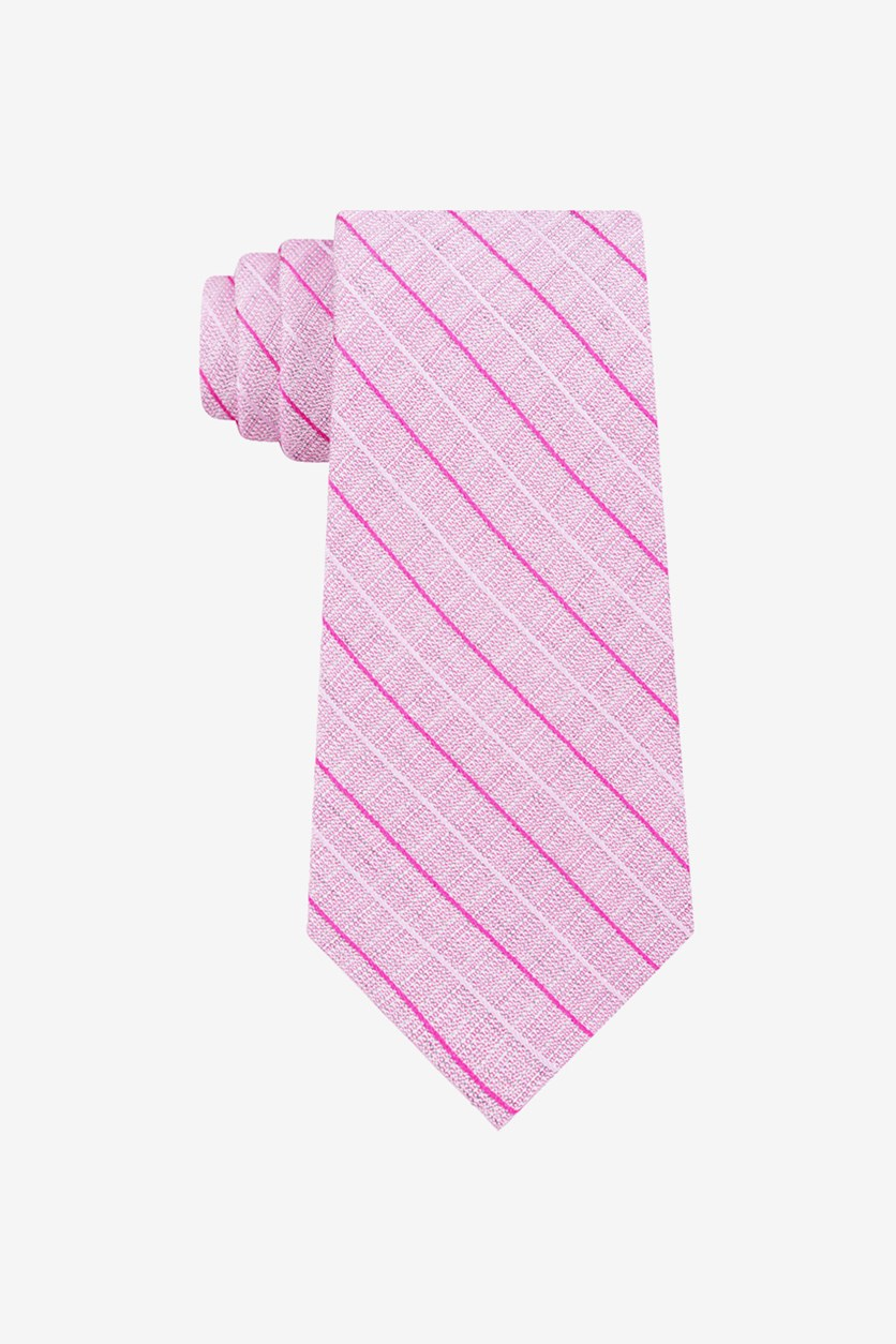 Mens Bold Life Silk Striped Neck Tie, Pink
