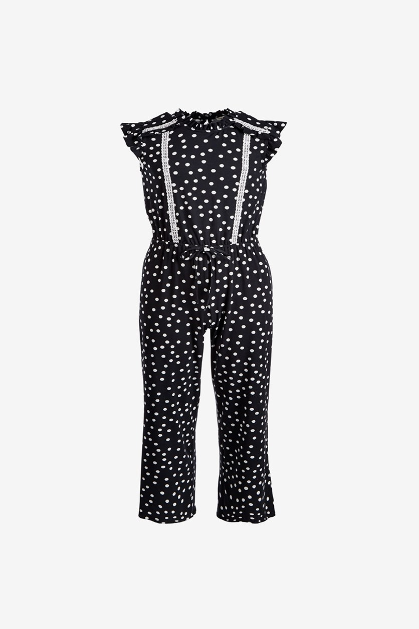 Big Girl's Dot-Print Jumpsuit, Black/White