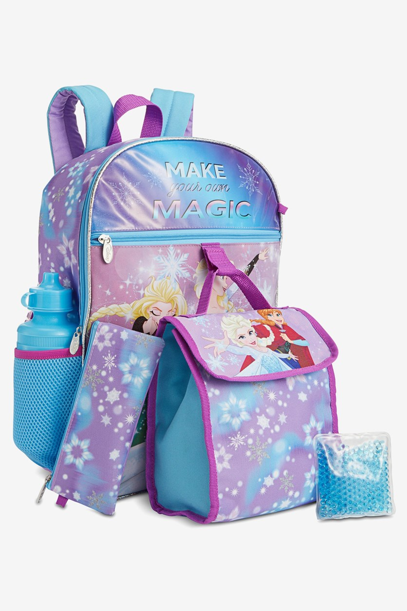 Girls 5-Pc. Frozen Princesses Backpack & Lunch Kit Set, Purple Combo