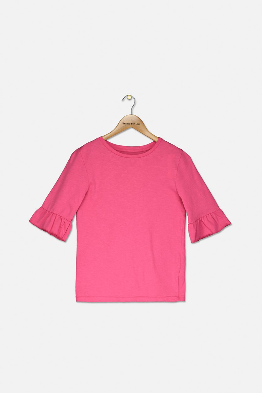 Girl's Flutter Sleeve Tops, Fuchsia