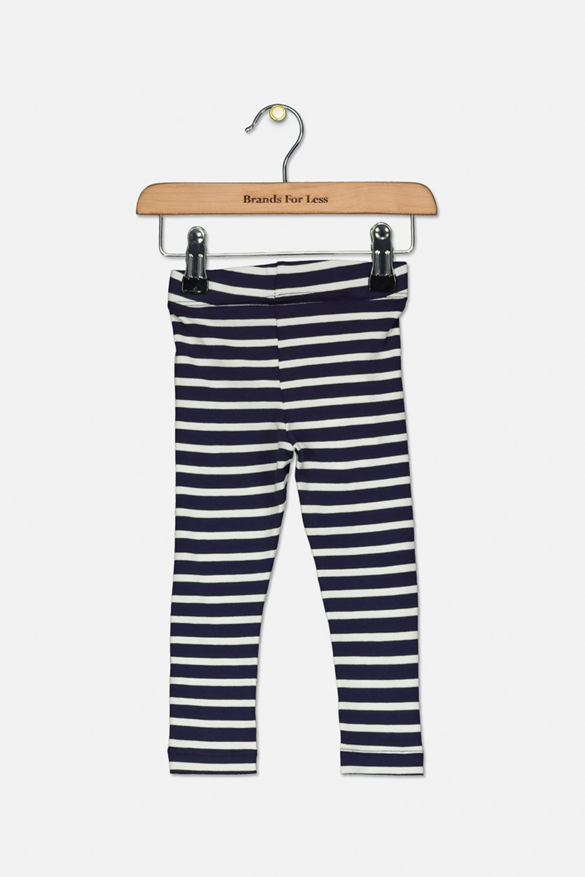 Toddler's Stripe Leggings, Navy/White