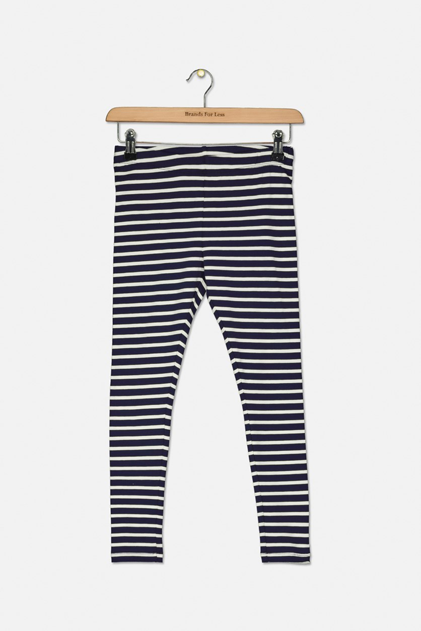 Girl's Striped Pull-On Leggings, Navy/White