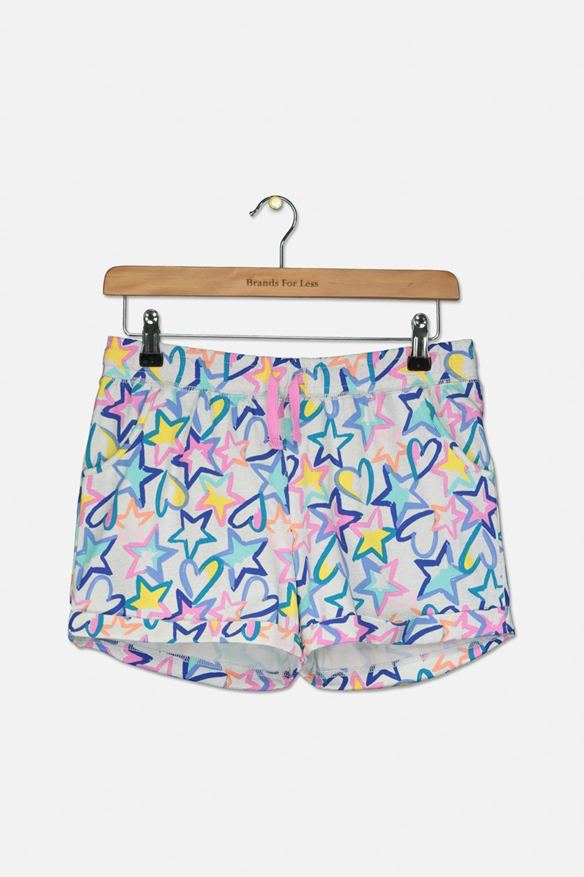 Girl's Allover Printed Short, Grey Combo