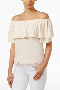 Women's Off-The-Shoulder Flounce Pom-Pom Top, Nude