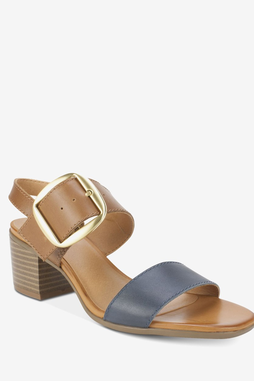 Women's Lamar Buckle Heeled Sandals, Cognac/Navy