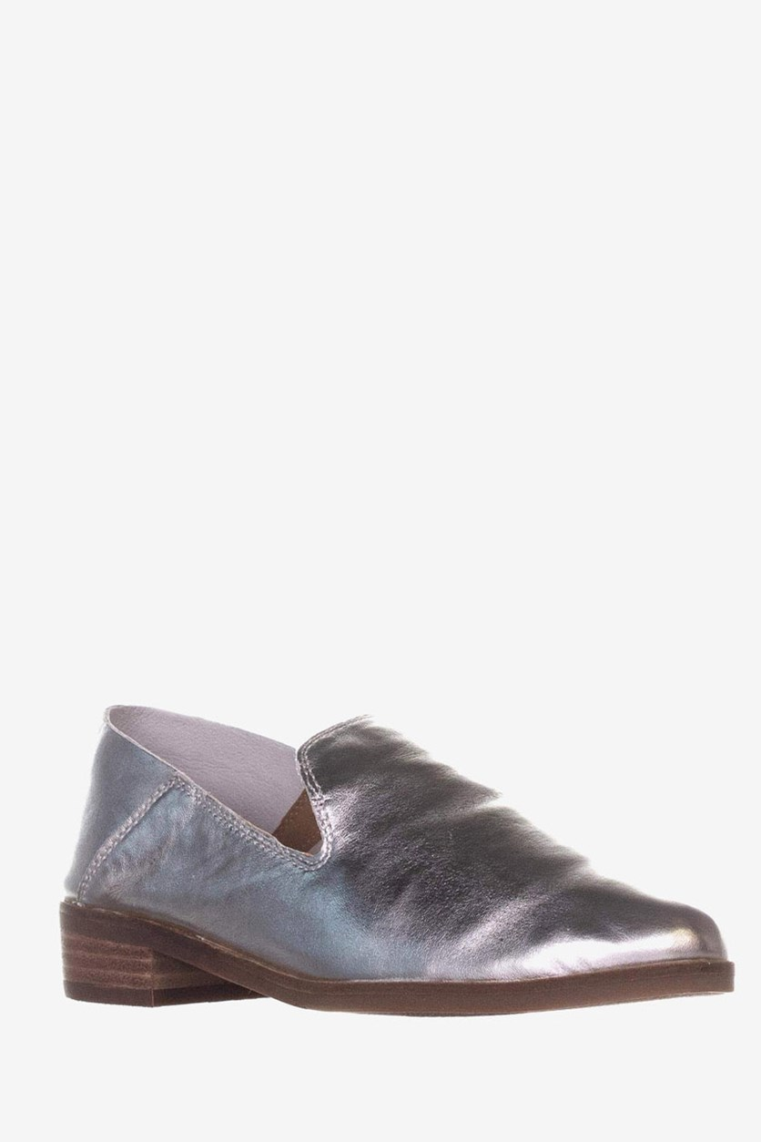 Women's Leather Slip On Stacked Heel Flat, Silver