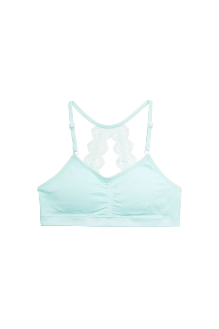 Little & Big Girls Lace-Back Ruched Crop Bra, Turquoise