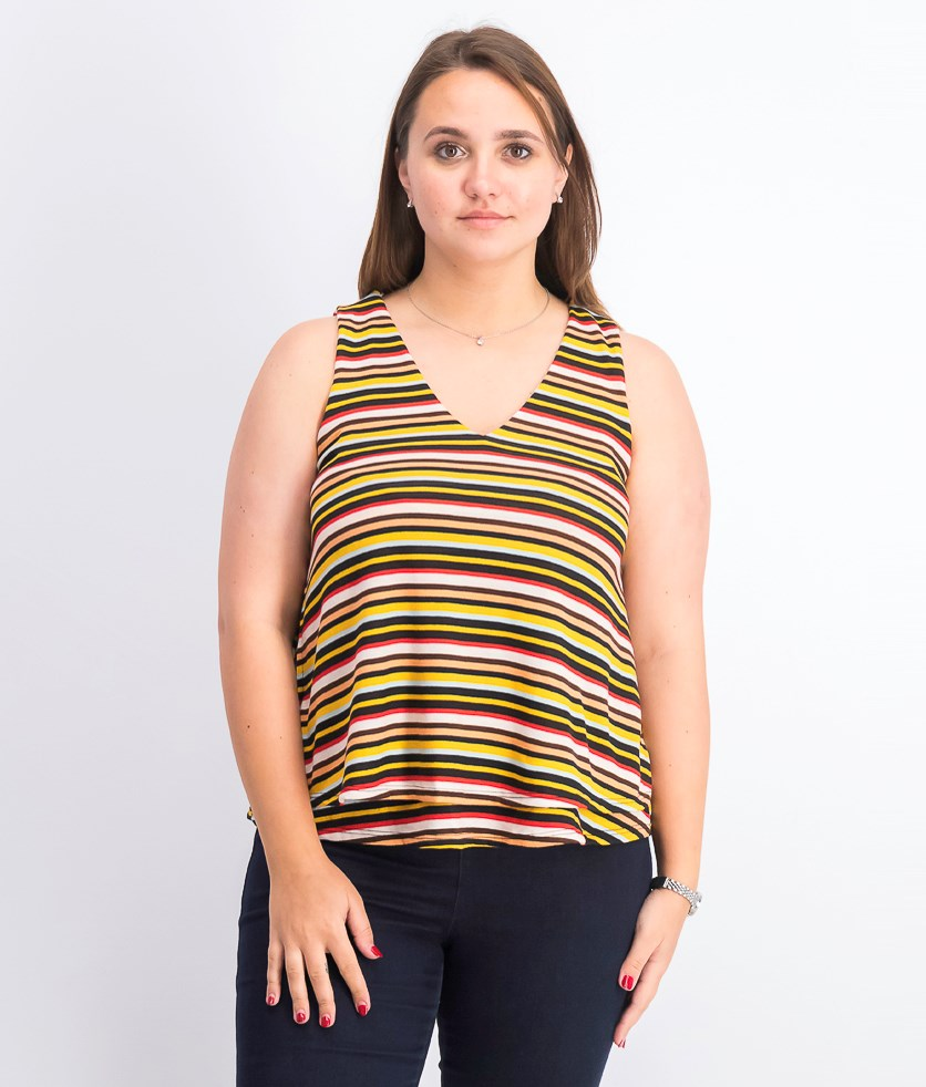 Women's Stripe SleevelessTops, Yellow/Black/Red Combo