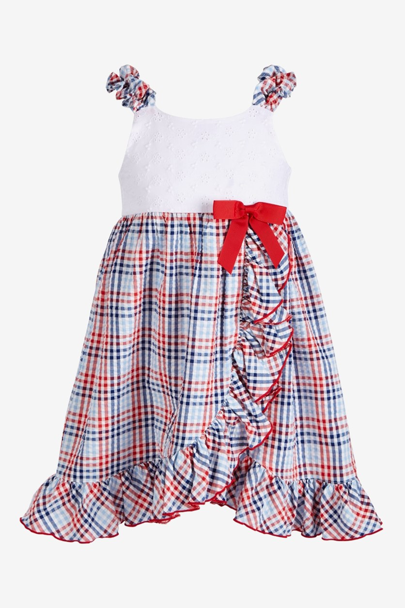 Little Girls Plaid Ruffle-Front Dress, White/Red/Blue