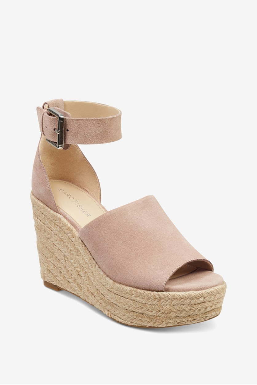Women's Cala Leather Peep Toe Casual Platform Sandals, Cipria