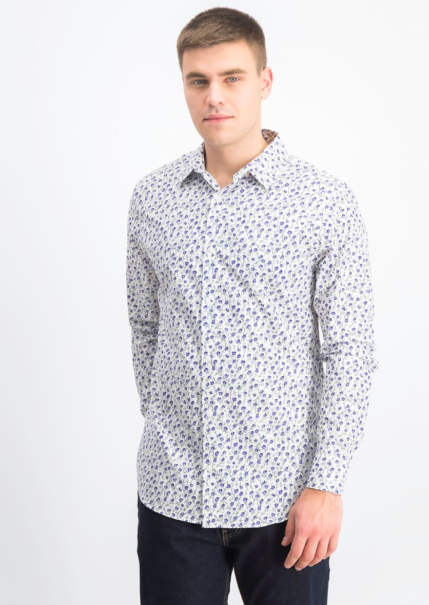 Men's Slim Fit Floral Shirt, White/Purple