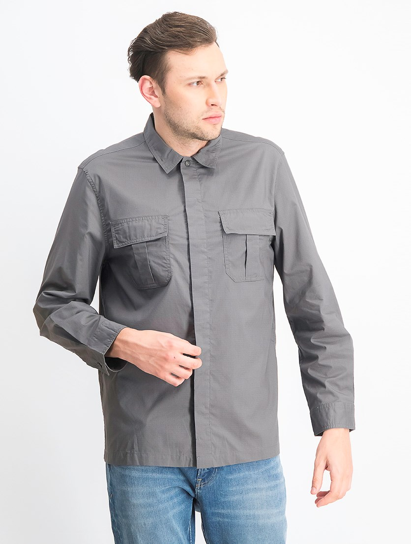 Men's Long Sleeve Button Down Shirt, Grey
