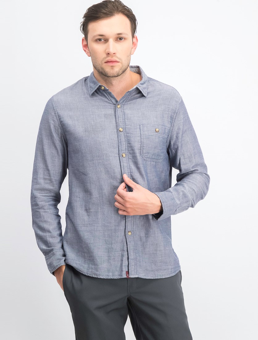 Men's Slim Fit Casual Shirt, Chambray