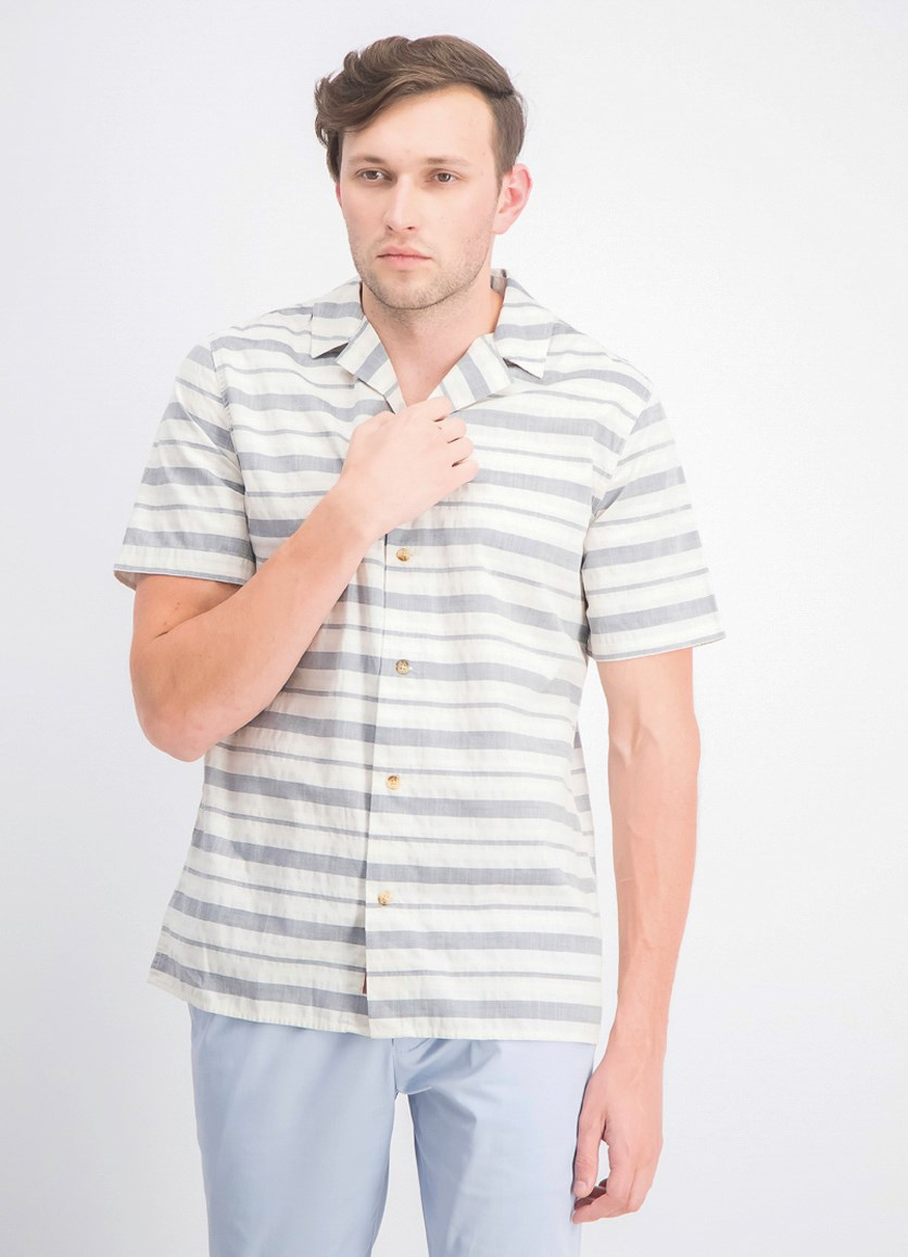 Men's Big &Tall Stripe Button Down Shirt, Cream/Navy