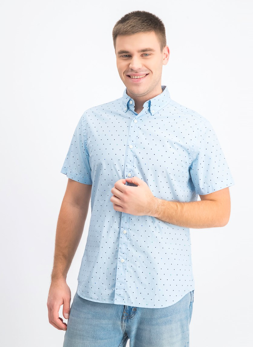 Men's Short Sleeve Button Down Shirt, Sky Blue