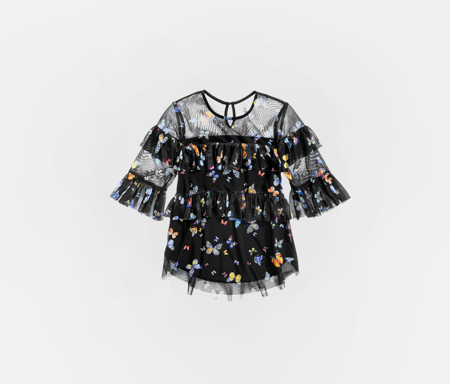 Big Girl's Butterfly-Print Ruffled Top, Black