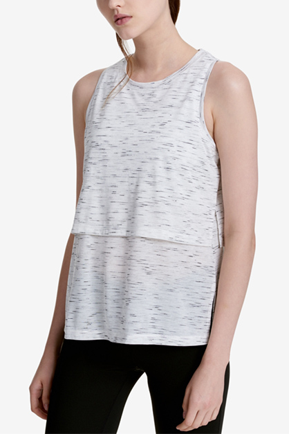 Performance Epic Knit Tiered Tank Top, Top Mist