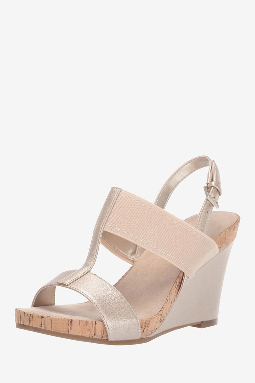 Women's Plush Behind Wedge Sandals, Gold Metallic