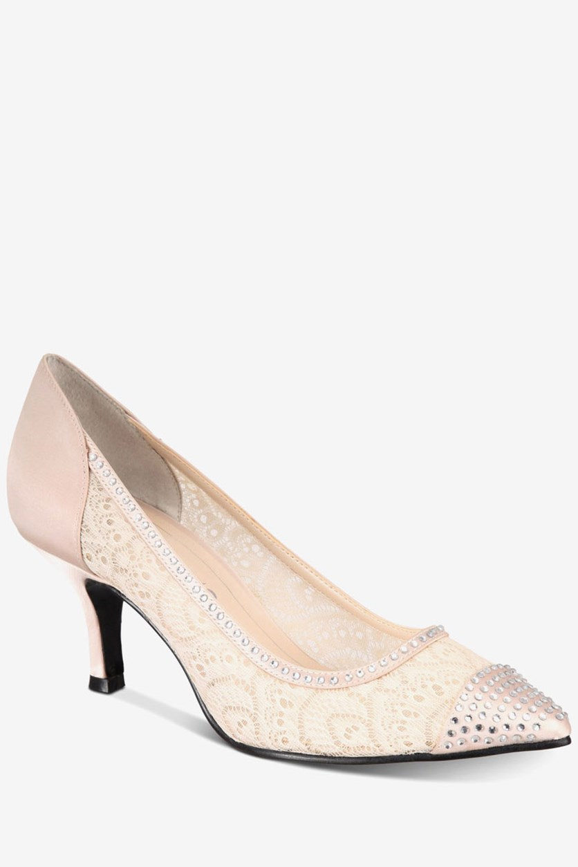 Women's Satin Fabric Pointed Toe D-orsay Pumps, Light Nude
