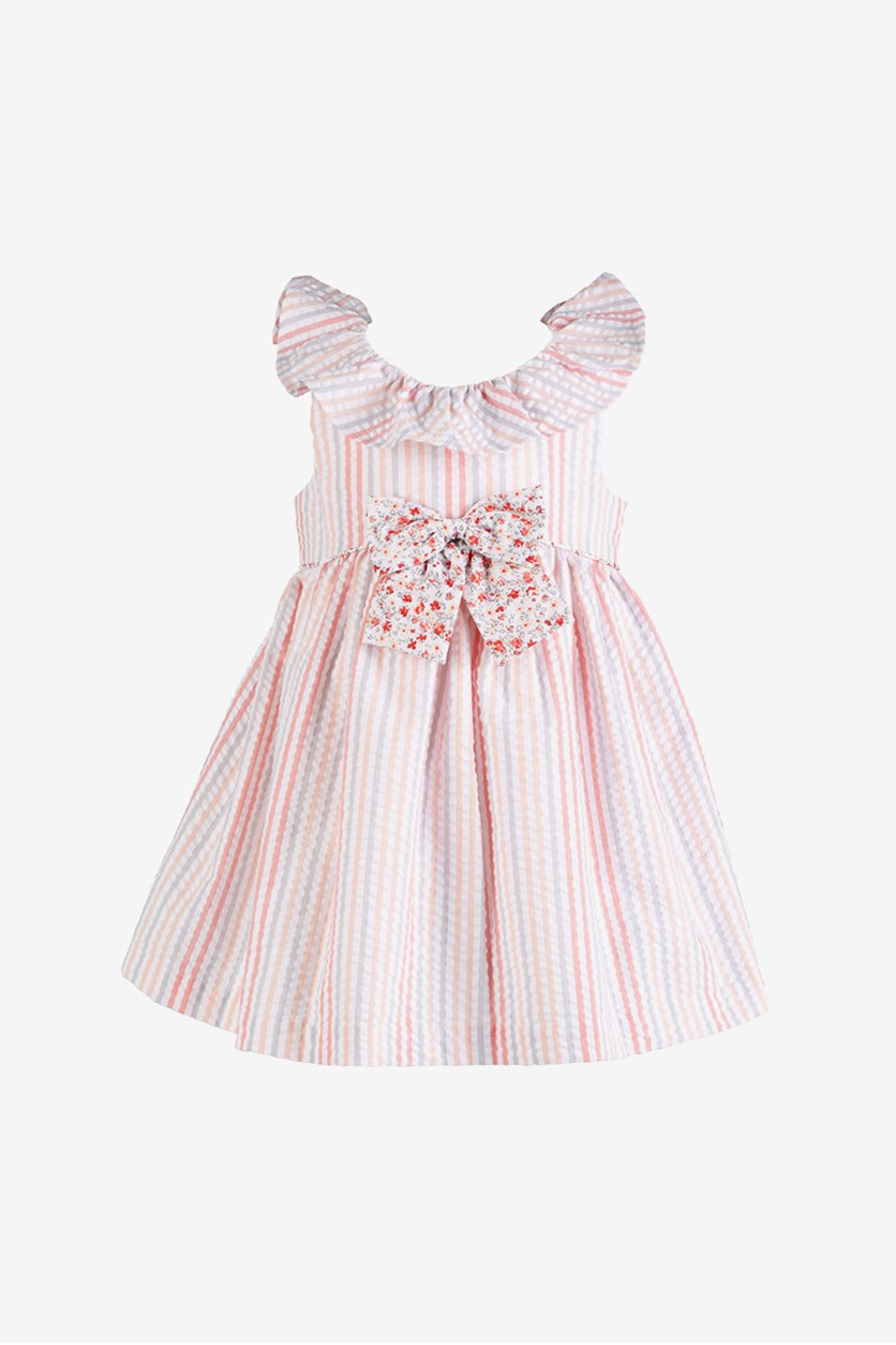 Baby Girls Striped Seersucker Dress, Pink