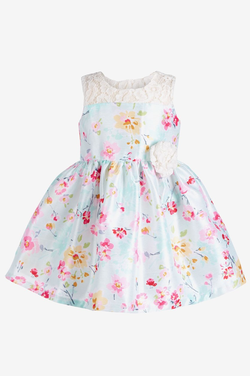 Baby Girl's Floral & Lace Dress, Green