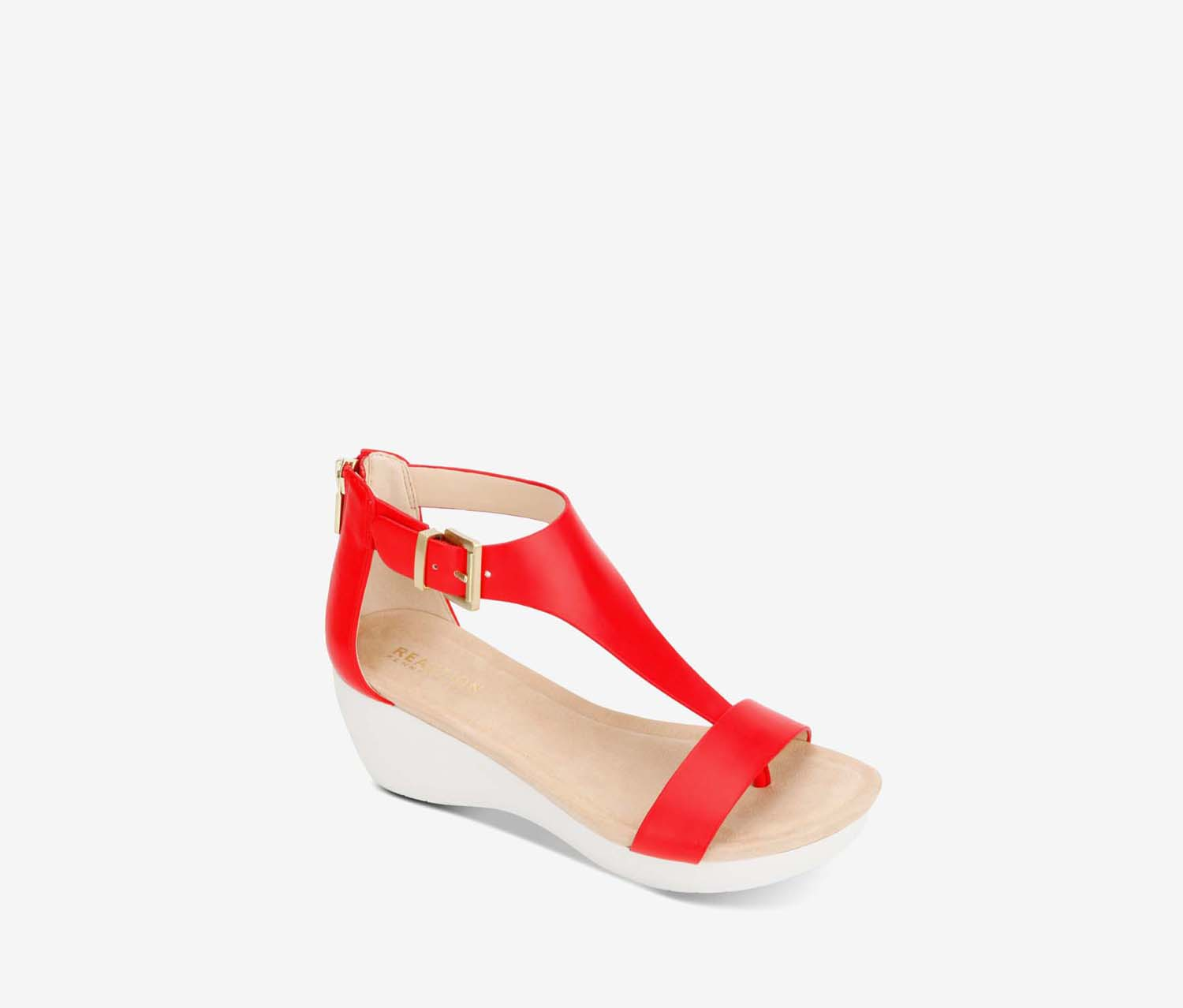 Women's New Gal T Strap Sandal, Red/White