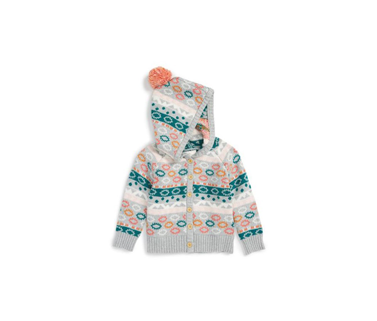 Toddlers Girl's Intarsia Hooded Cardigan, Gray/Green
