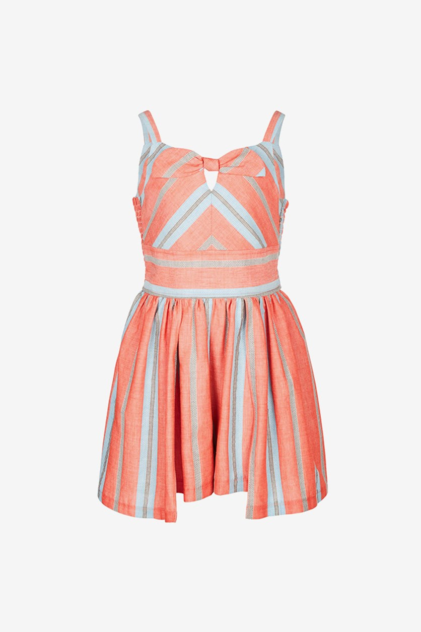 Big Girls Striped Walkthrough Romper, Coral/Blue