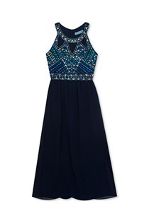 Kids Girl's Embellished Maxi Dress, Navy