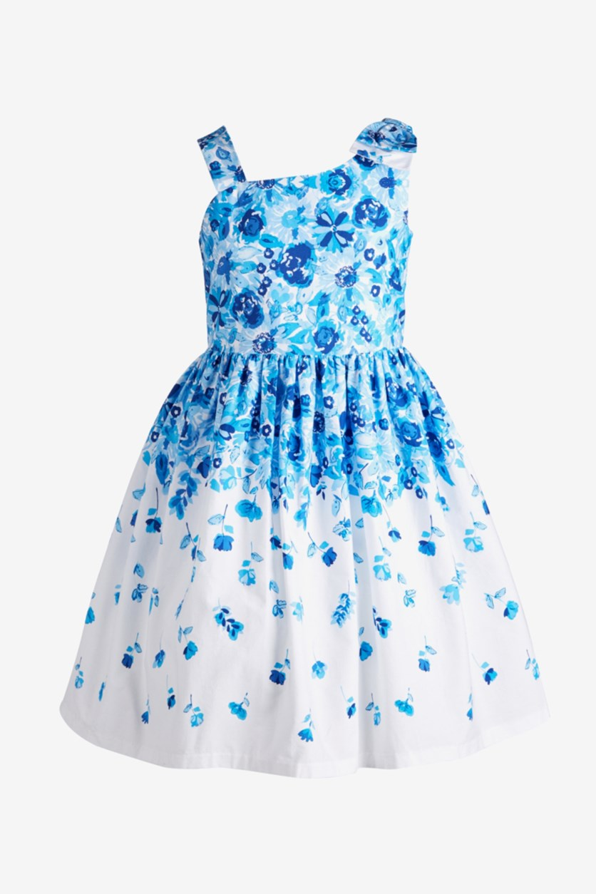 Big Girls Floral-Print Bow Shoulder Dress, Blue