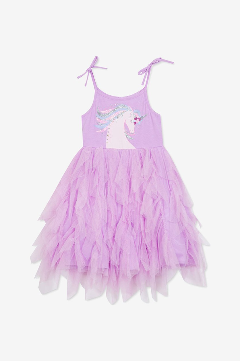 Big Girls Unicorn Tutu Dress,  Lavender