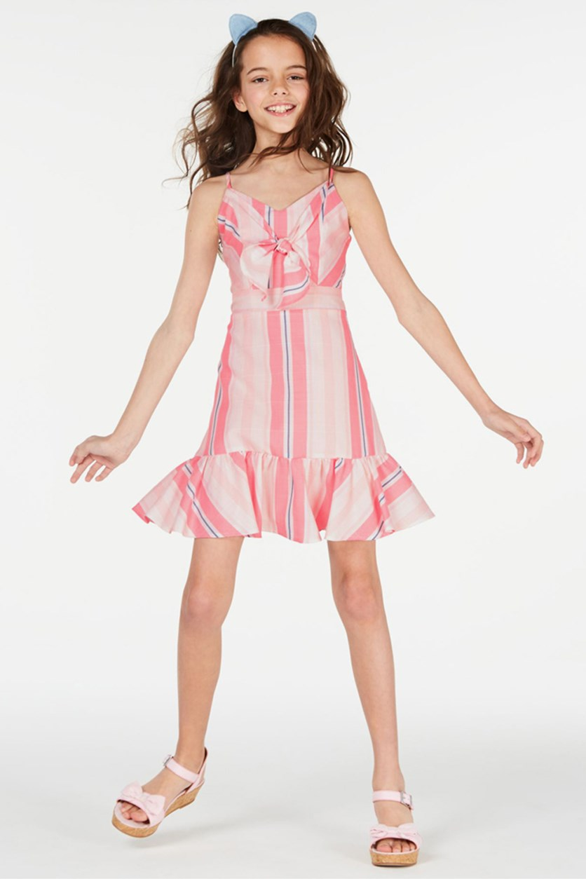 Big Girls Multi-Stripe Bow Dress, Blush