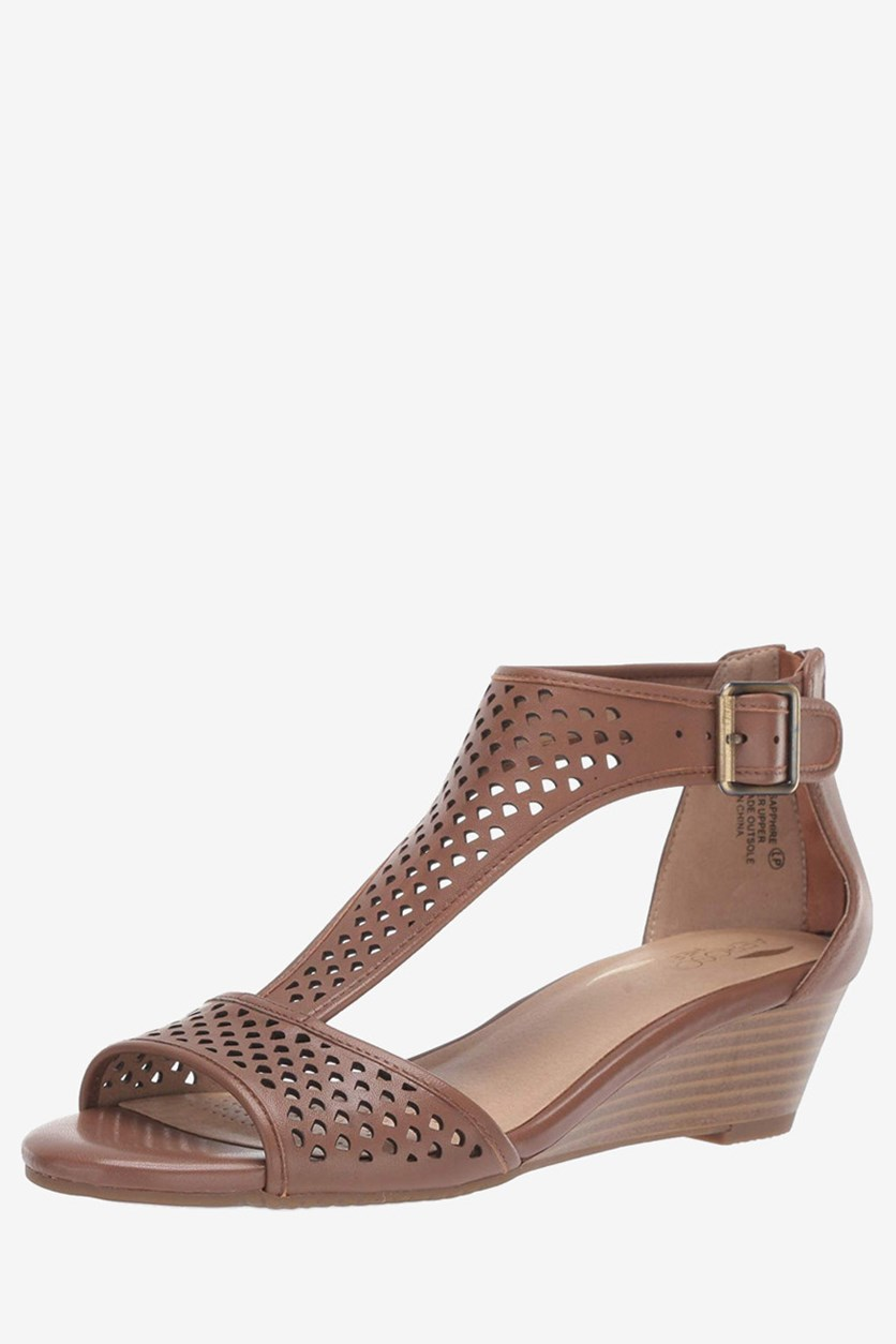 Womens Sapphire Leather Open Toe Sandals, Dark Tan Leather