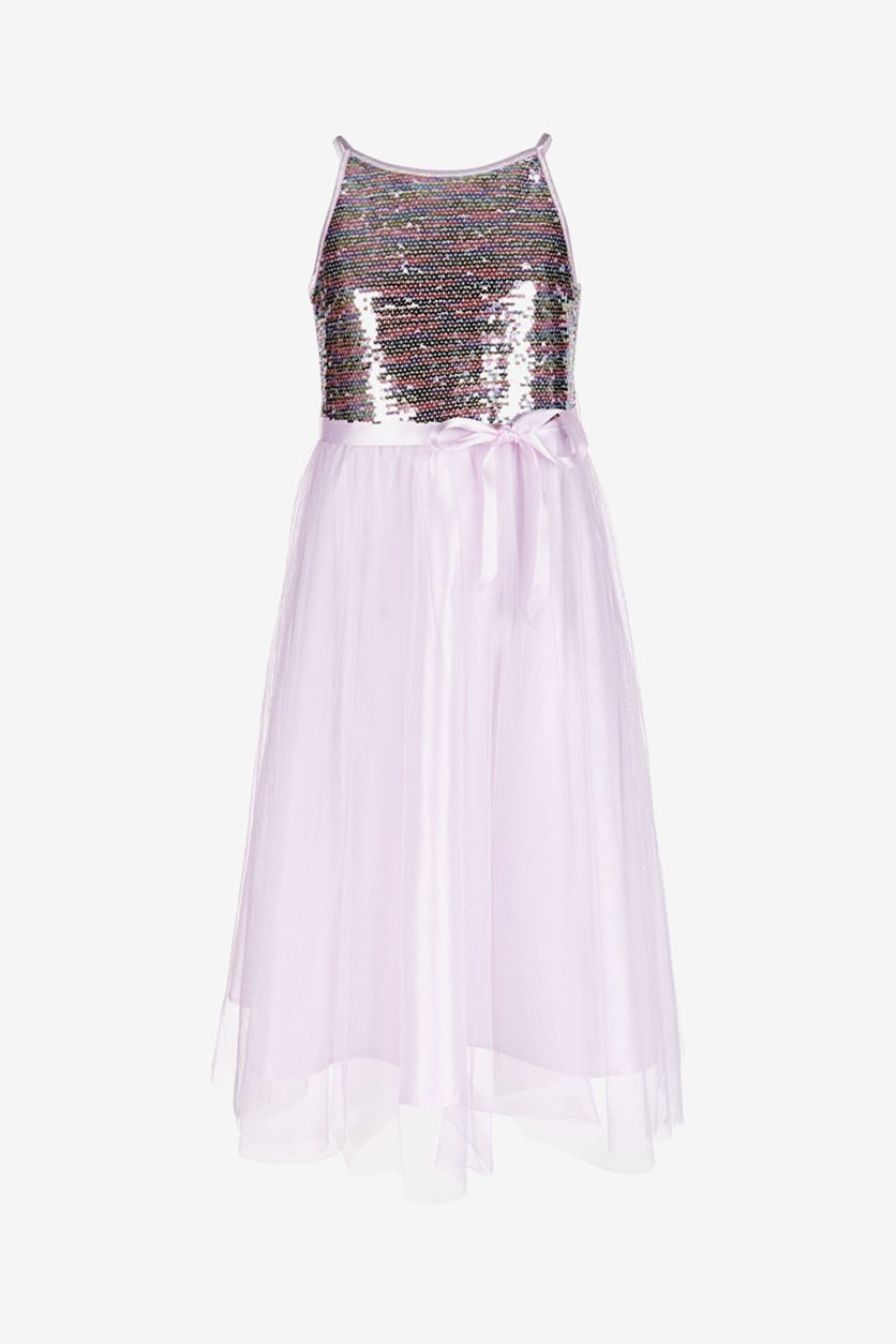 Big Girls Rainbow Sequin Dress, Orchid