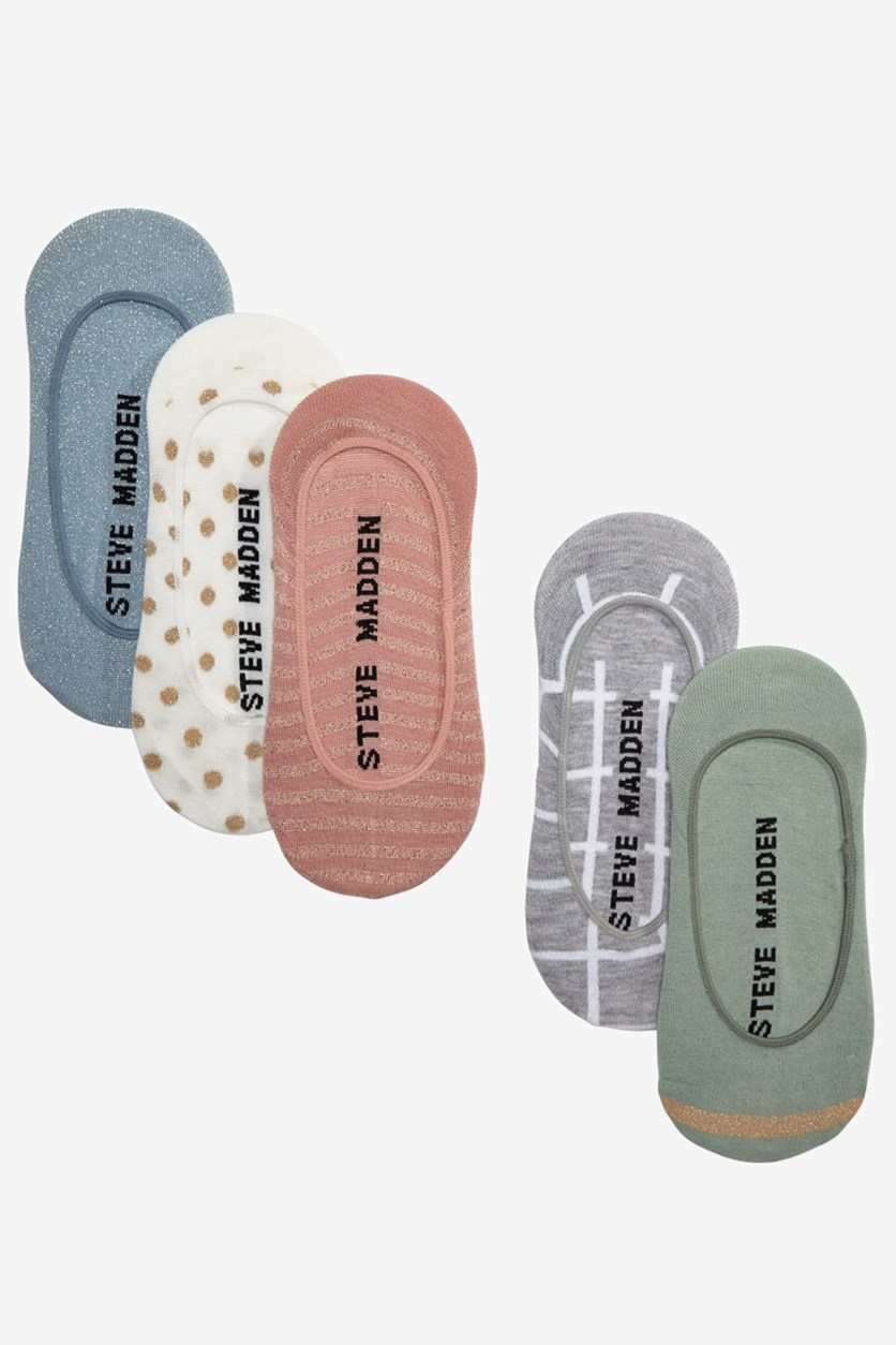 Women's 5 Pack Different Colors Socks, Pink/Green/Gray