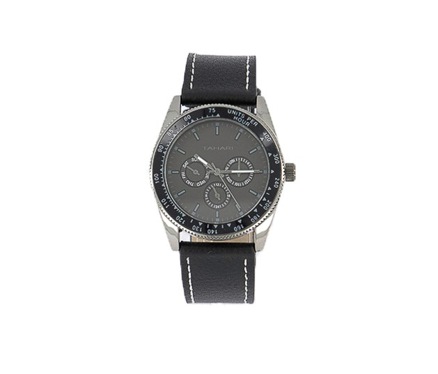Men's Genuin Leather Analog Watch, Black