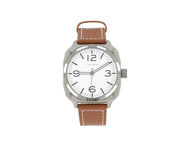 Men's Genuine Leather Analog Watch, Brown/White