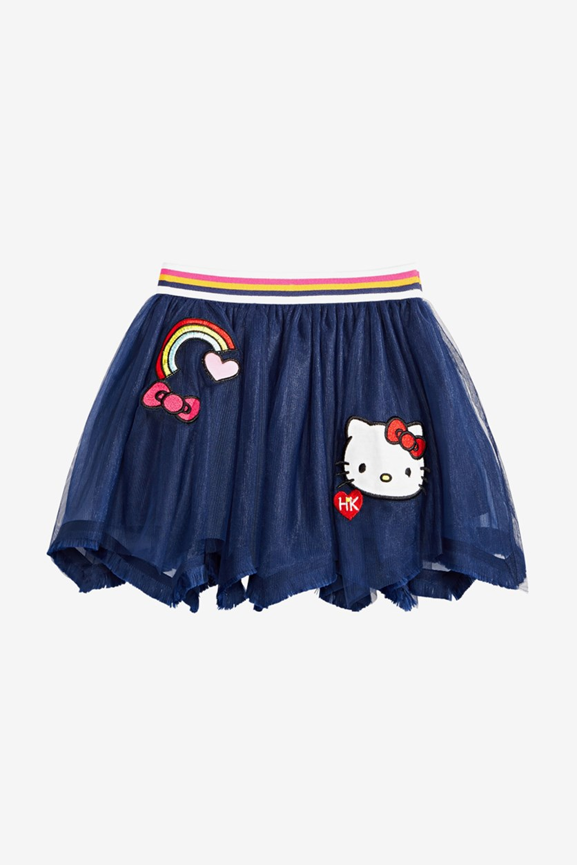 Little Girls Rainbow Mesh Skirt, Symphony Blue