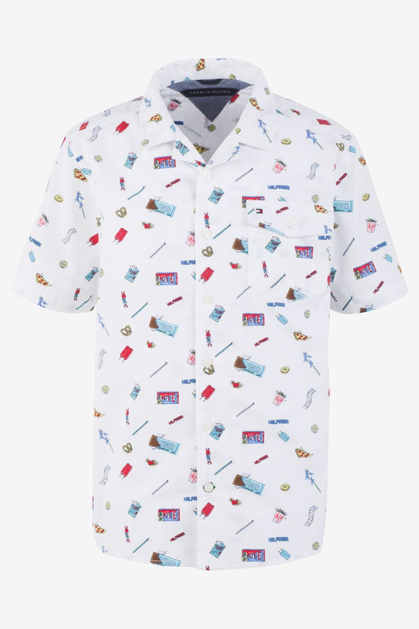 Toddler Boys Franco Candy-Print Poplin Camp Shirt, Bright White