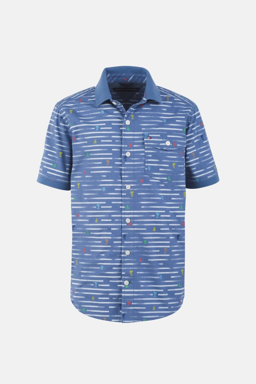 Big Boys Nathan Broken Stripe Poplin Shirt, Blue