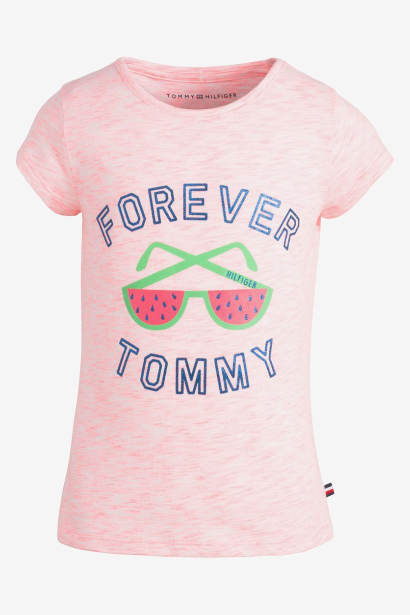 Little Girls Shades-Print T-Shirt, Diva Pink