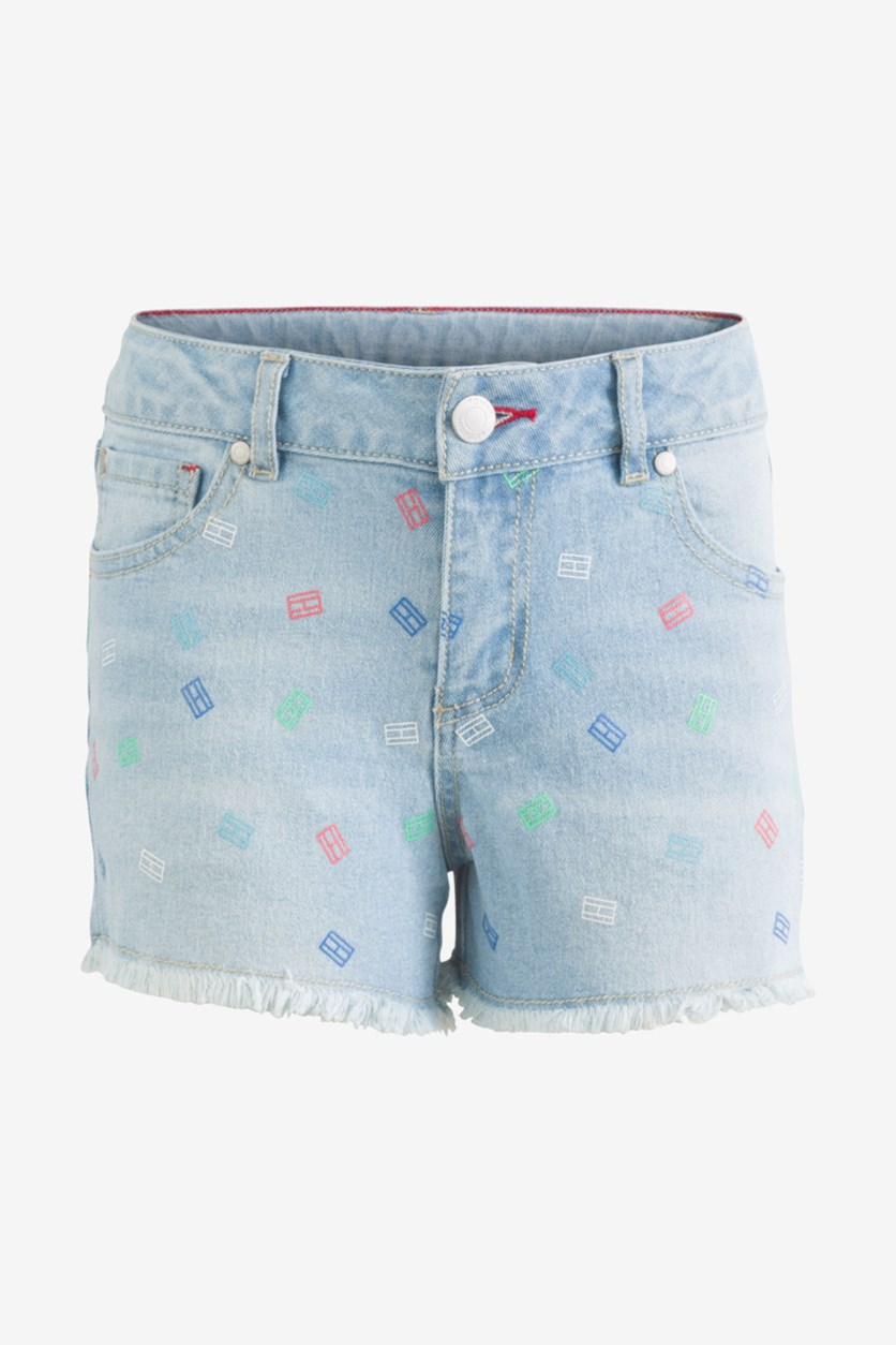 Toddler Girls Printed Denim Shorts, Bowery Wash
