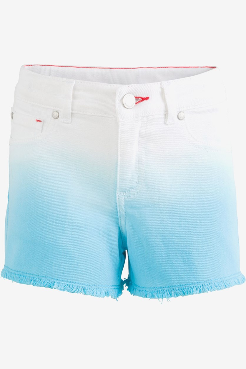Big Girls Dip-Dyed Denim Shorts, Blue Fish