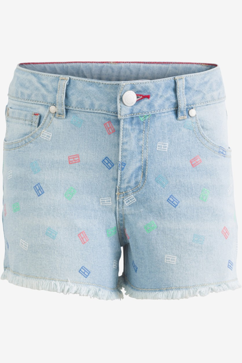 Toddler Girls Printed Denim Shorts, Blue Wash