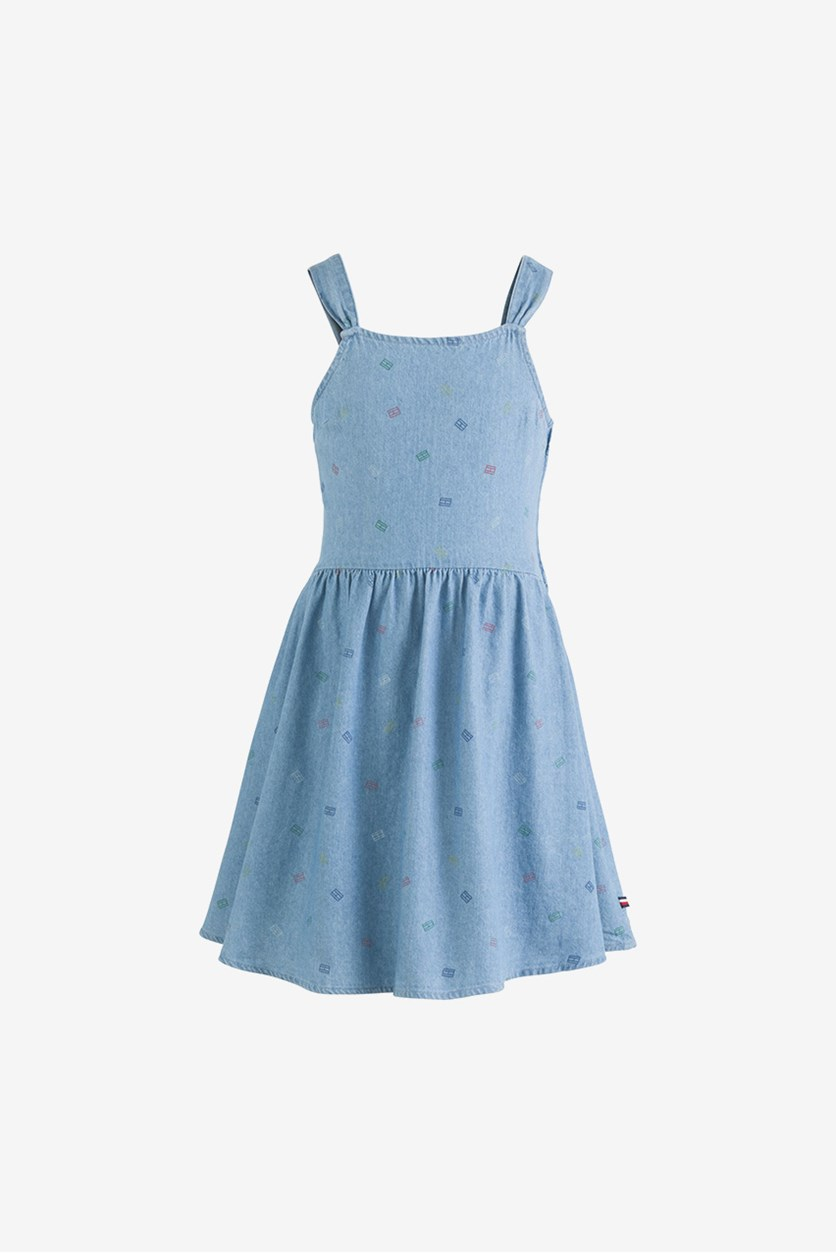 Big Girls Cotton Logo-Print Denim Dress, Bowery Wash