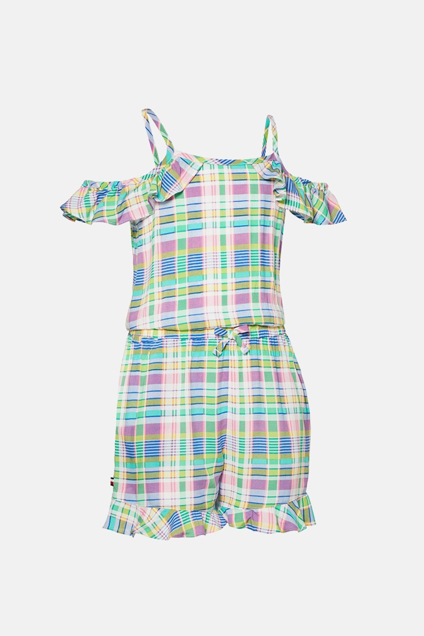 Girl's Cold Shoulder Romper, Green Combo