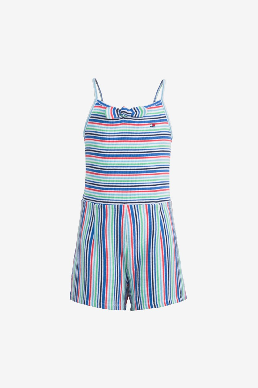 Kid's Girls Striped Ribbed Romper, Flag Blue