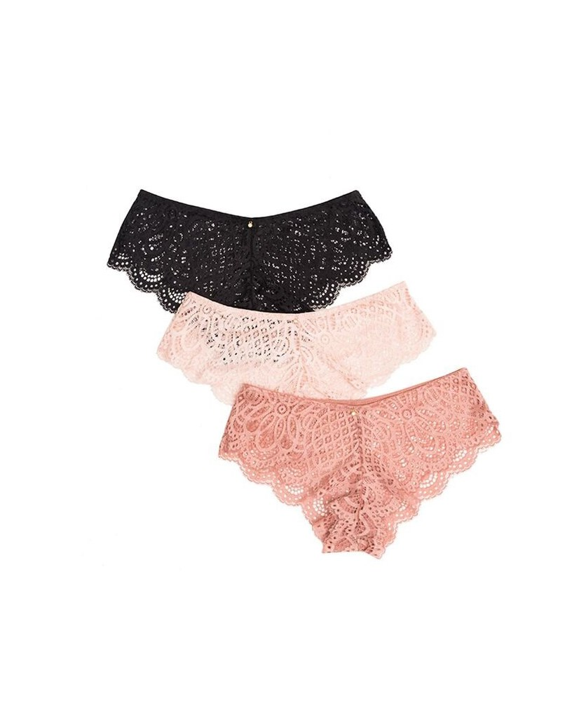 Women's 3 Pack Bikini Lace Panty, Ash Rose/Blush/Black