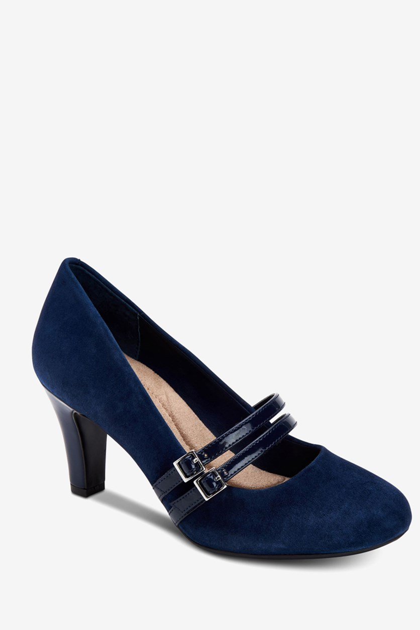 Women's Vallay Leather Closed Toe Pumps, Navy Blue