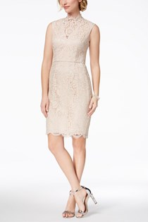 Women's Lace Party Cocktail Dress, Beige